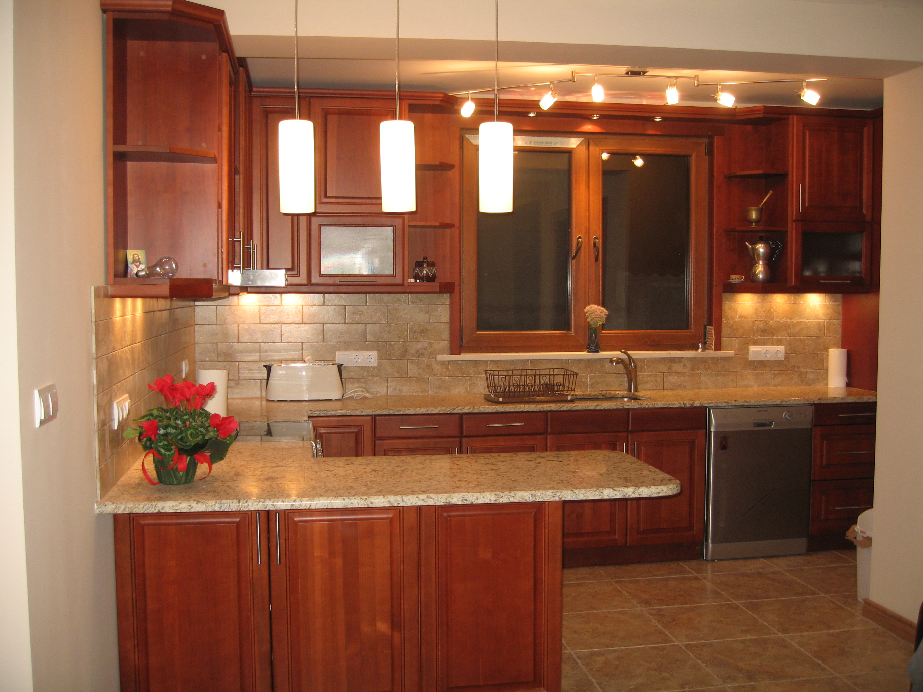 Bultra inc cherry finish for Bleached maple kitchen cabinets